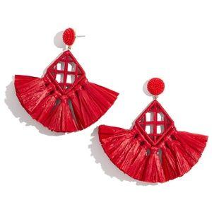 BAUBLEBAR Red Sahari Raffia Tassel Earrings